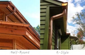 half round vs. kstyle 300x196 3 - 5 Things to Consider When Replacing your Gutters
